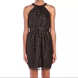 Black/metallic gold dot dress